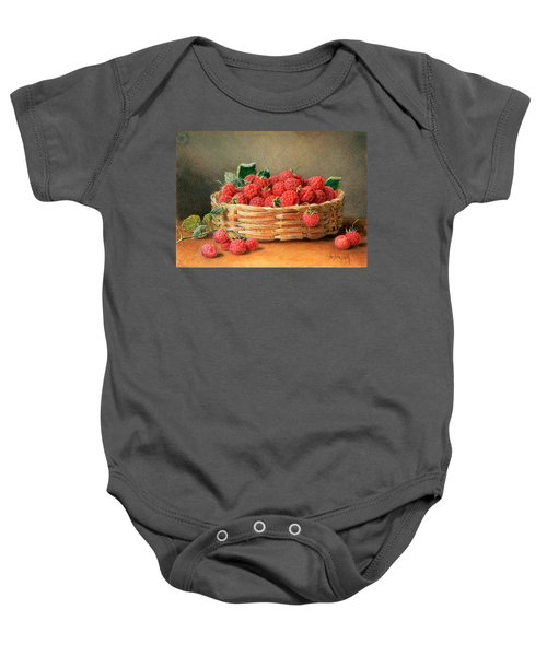 A Still Life Of Raspberries In A Wicker Basket  Baby Onesie by William B Hough