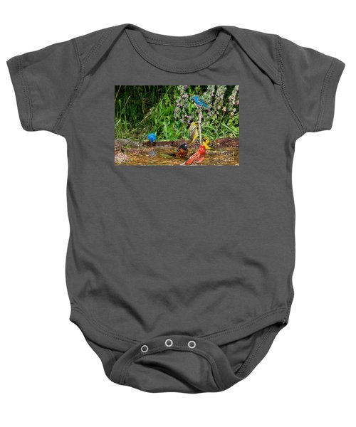 Birds Bathing Baby Onesie by Anthony Mercieca