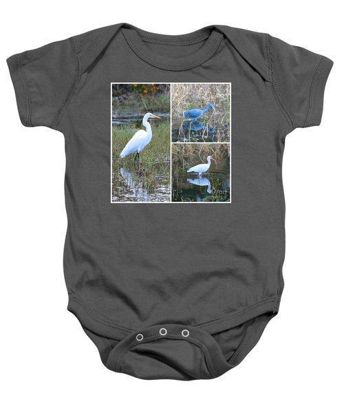 Birds On Pond Collage Baby Onesie by Carol Groenen