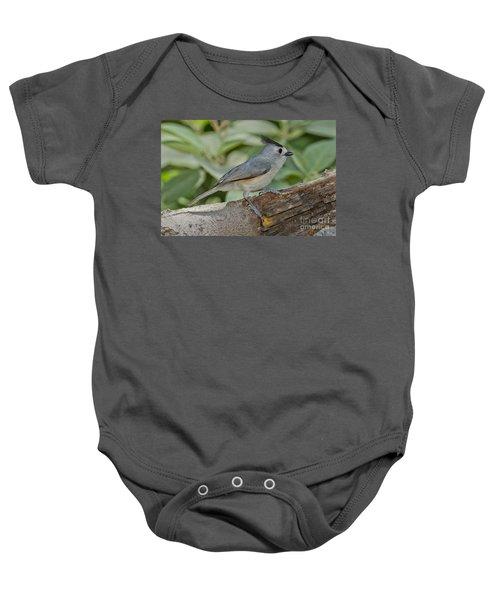 Black-crested Titmouse Baby Onesie by Anthony Mercieca