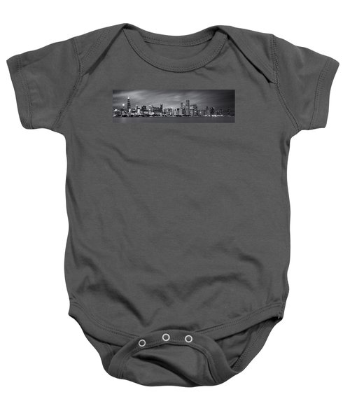 Chicago Skyline At Night Black And White Panoramic Baby Onesie by Adam Romanowicz