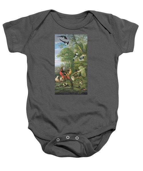 Cock Pheasant Hen Pheasant And Chicks And Other Birds In A Classical Landscape Baby Onesie by Pieter Casteels