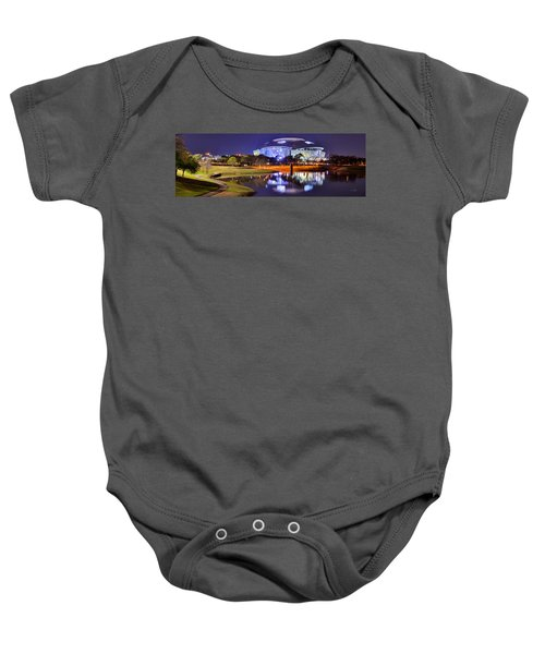 Dallas Cowboys Stadium At Night Att Arlington Texas Panoramic Photo Baby Onesie by Jon Holiday