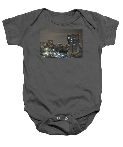Docomo Tower Over Shinagawa Station And Tokyo Skyline At Night Baby Onesie by Jeff at JSJ Photography