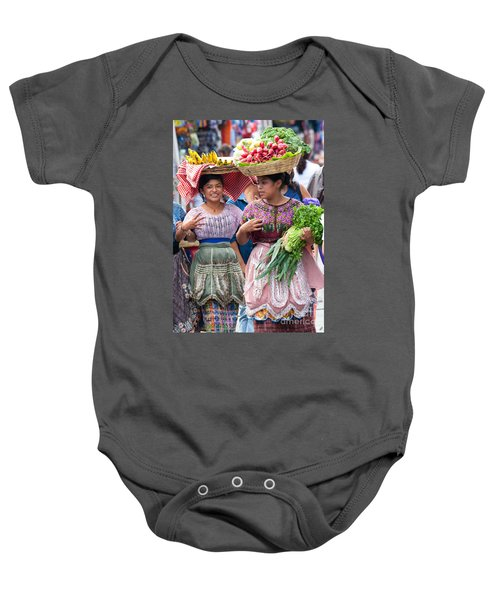 Fruit Sellers In Antigua Guatemala Baby Onesie by David Smith