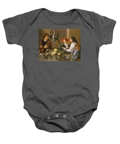 Game And Vegetable Sellers Oil On Canvas Baby Onesie by Theodor Rombouts