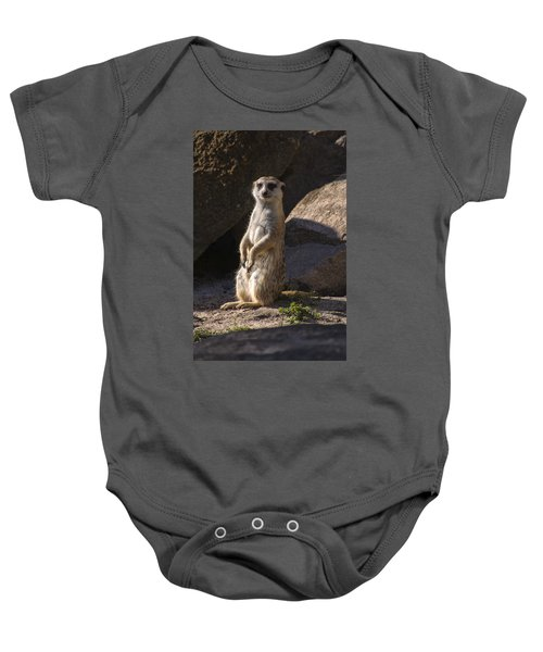 Meerkat Looking Forward Baby Onesie by Chris Flees