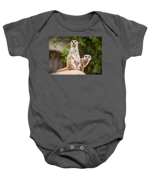 Meerkat Pair Baby Onesie by Jamie Pham