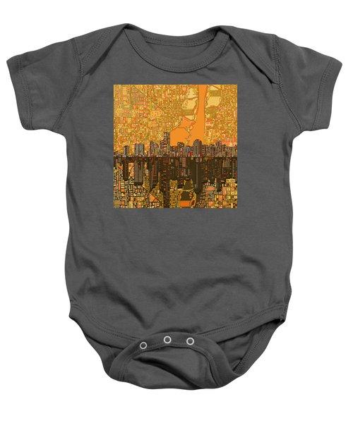 Miami Skyline Abstract 5 Baby Onesie by Bekim Art