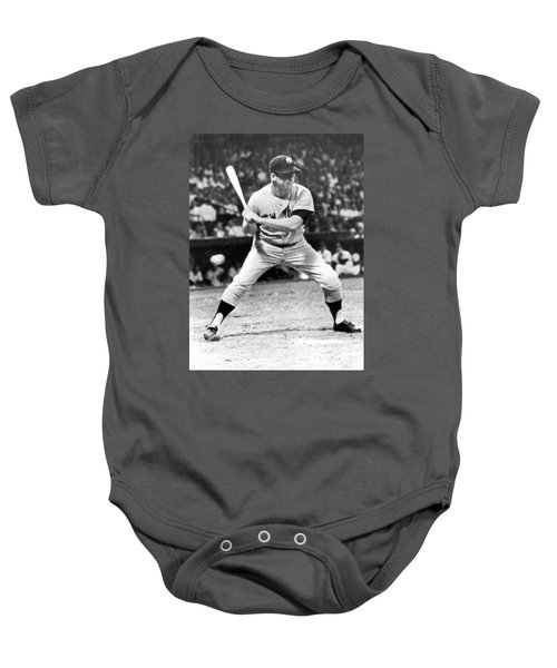 Mickey Mantle At Bat Baby Onesie by Underwood Archives