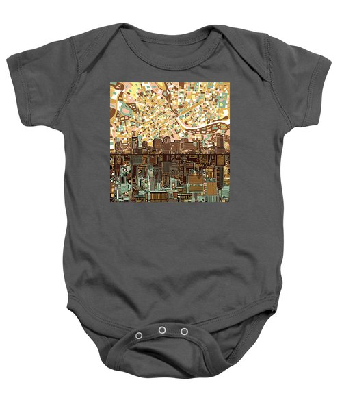 Nashville Skyline Abstract 4 Baby Onesie by Bekim Art
