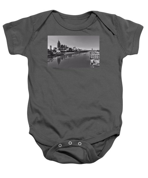 Nashville Skyline In Black And White At Day Baby Onesie by Dan Sproul