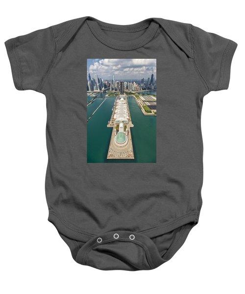 Navy Pier Chicago Aerial Baby Onesie by Adam Romanowicz
