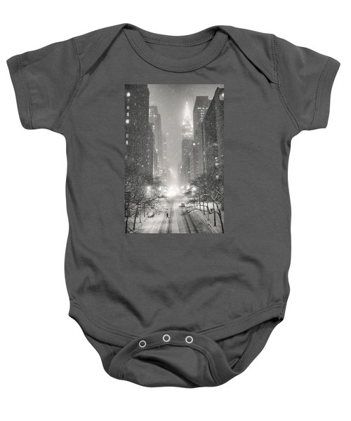 New York City - Winter Night Overlooking The Chrysler Building Baby Onesie by Vivienne Gucwa
