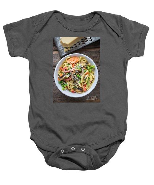 Pasta Primavera Dish Baby Onesie by Edward Fielding