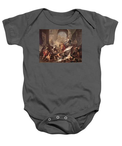 Perseus, Under The Protection Of Minerva, Turns Phineus To Stone By Brandishing The Head Of Medusa Baby Onesie by Jean-Marc Nattier