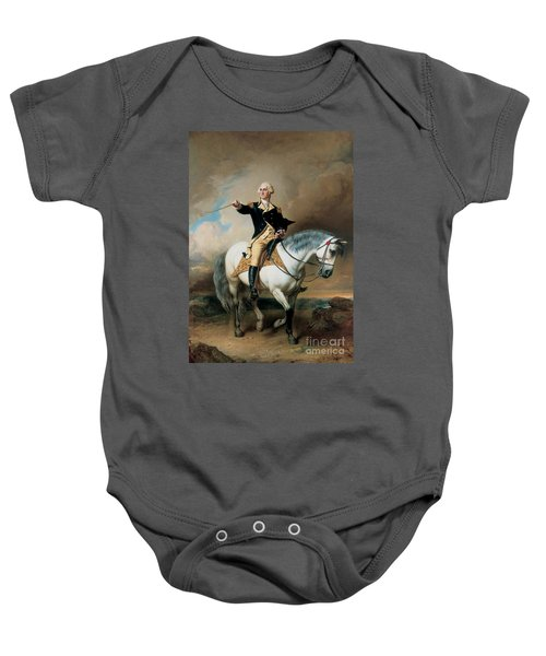 Portrait Of George Washington Taking The Salute At Trenton Baby Onesie by John Faed