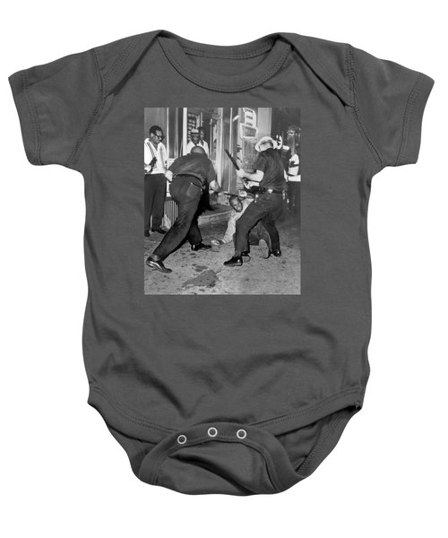 Protester Clubbed In Harlem Baby Onesie by Underwood Archives