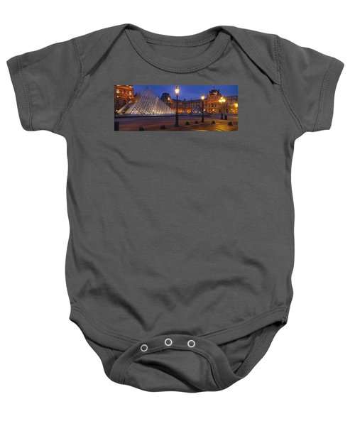 Pyramid At A Museum, Louvre Pyramid Baby Onesie by Panoramic Images