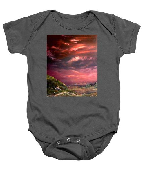 Red Sky At Night Baby Onesie by Jean Walker