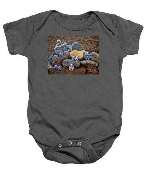 Rocky Faces In The Sand Baby Onesie by David Smith
