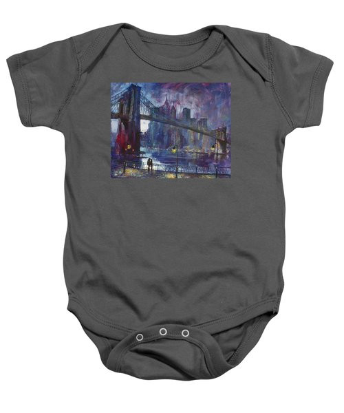 Romance By East River Nyc Baby Onesie by Ylli Haruni