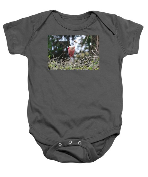 Spoonbill In The Branches Baby Onesie by Carol Groenen