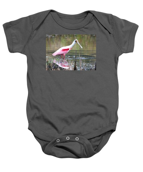 Spoonbill In The Pond Baby Onesie by Carol Groenen