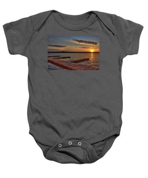 Sunset Docks On Lake Oconee Baby Onesie by Reid Callaway