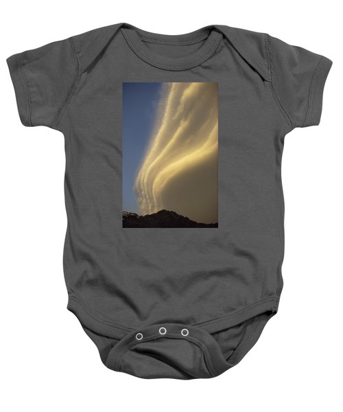 Sunset On Storm Clouds Near Mt Cook Baby Onesie by Ian Whitehouse