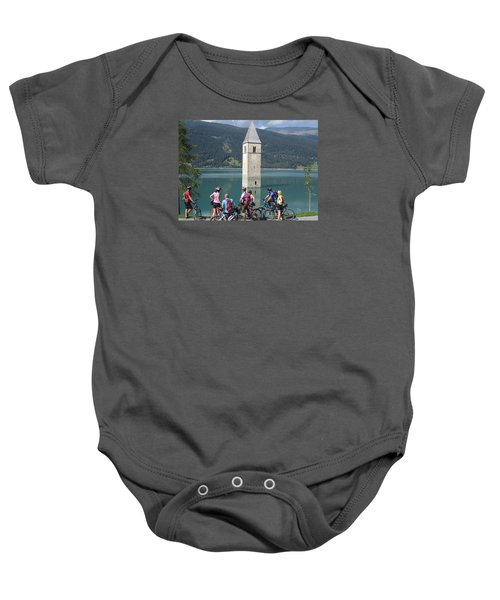 Baby Onesie featuring the photograph Tower In The Lake by Travel Pics