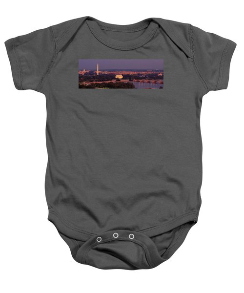 Usa, Washington Dc, Aerial, Night Baby Onesie by Panoramic Images