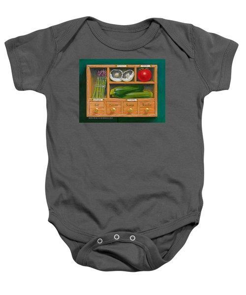 Vegetable Shelf Baby Onesie by Brian James