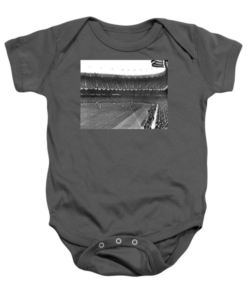 View Of Yankee Stadium Baby Onesie by Underwood Archives