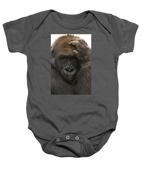 Western Lowland Gorilla With Hand Baby Onesie by San Diego Zoo