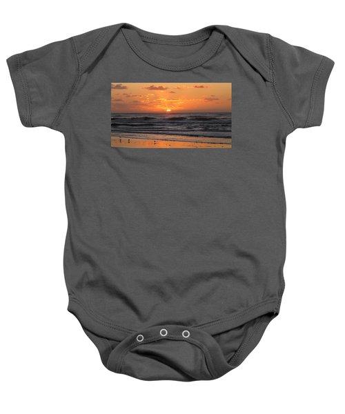 Wildwood Beach Here Comes The Sun Baby Onesie by David Dehner