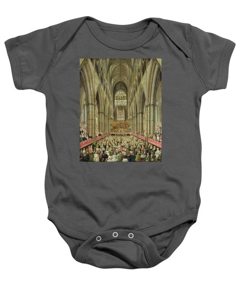 An Interior View Of Westminster Abbey On The Commemoration Of Handel's Centenary Baby Onesie by Edward Edwards