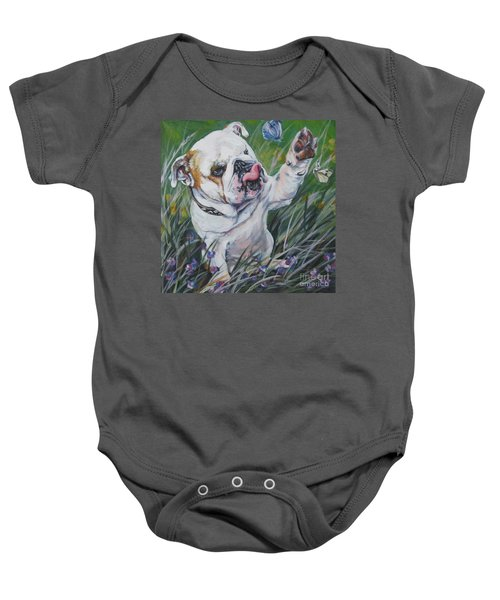 English Bulldog Baby Onesie by Lee Ann Shepard