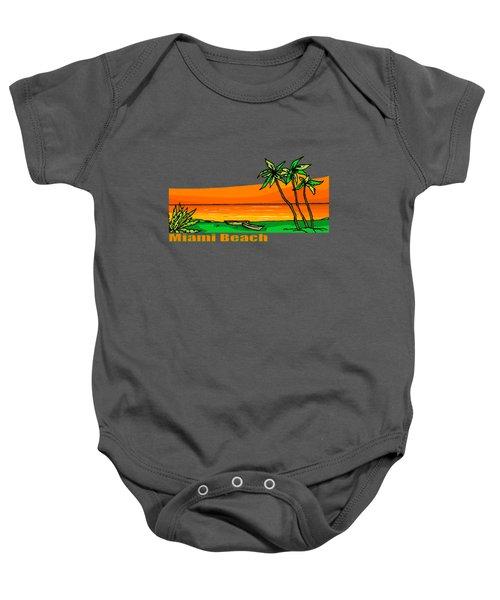 Miami Beach Baby Onesie by Brian's T-shirts