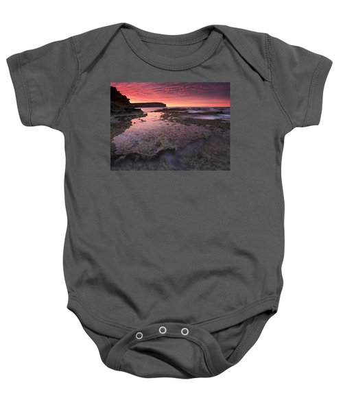 Red Sky At Morning Baby Onesie by Mike  Dawson