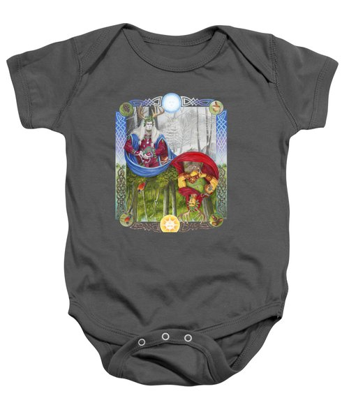 The Holly King And The Oak King Baby Onesie by Melissa A Benson