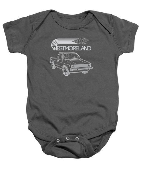 Vw Rabbit Pickup - Westmoreland Theme - Black Baby Onesie by Ed Jackson