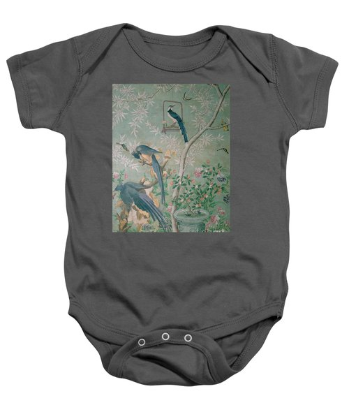 A Pair Of Magpie Jays  Vintage Wallpaper Baby Onesie by John James Audubon