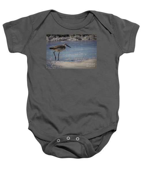 A Walk On The Beach Baby Onesie by Marvin Spates