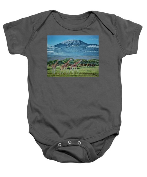 African Giants At Mount Kilimanjaro, Original Oil Painting 48x60 In On Gallery Canvas Baby Onesie by Manuel Lopez