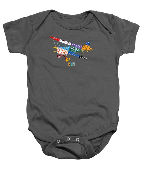 Airplane Vintage Biplane Silhouette Shape Recycled License Plate Art On Blue Barn Wood Baby Onesie by Design Turnpike