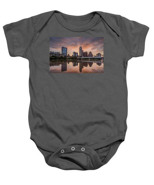 Austin Skyline Sunrise Reflection Baby Onesie by Todd Aaron
