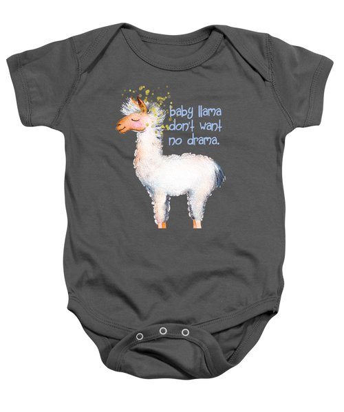 Baby Llama Don't Want No Drama Baby Onesie by Tina Lavoie