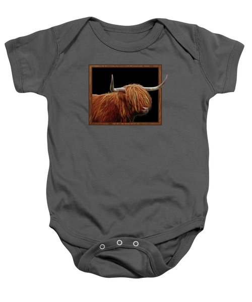 Bad Hair Day - Highland Cow - On Black Baby Onesie by Gill Billington