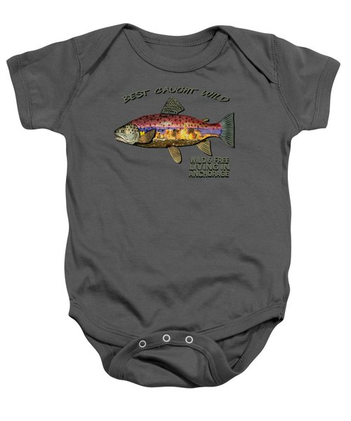 Fishing - Best Caught Wild-on Dark Baby Onesie by Elaine Ossipov